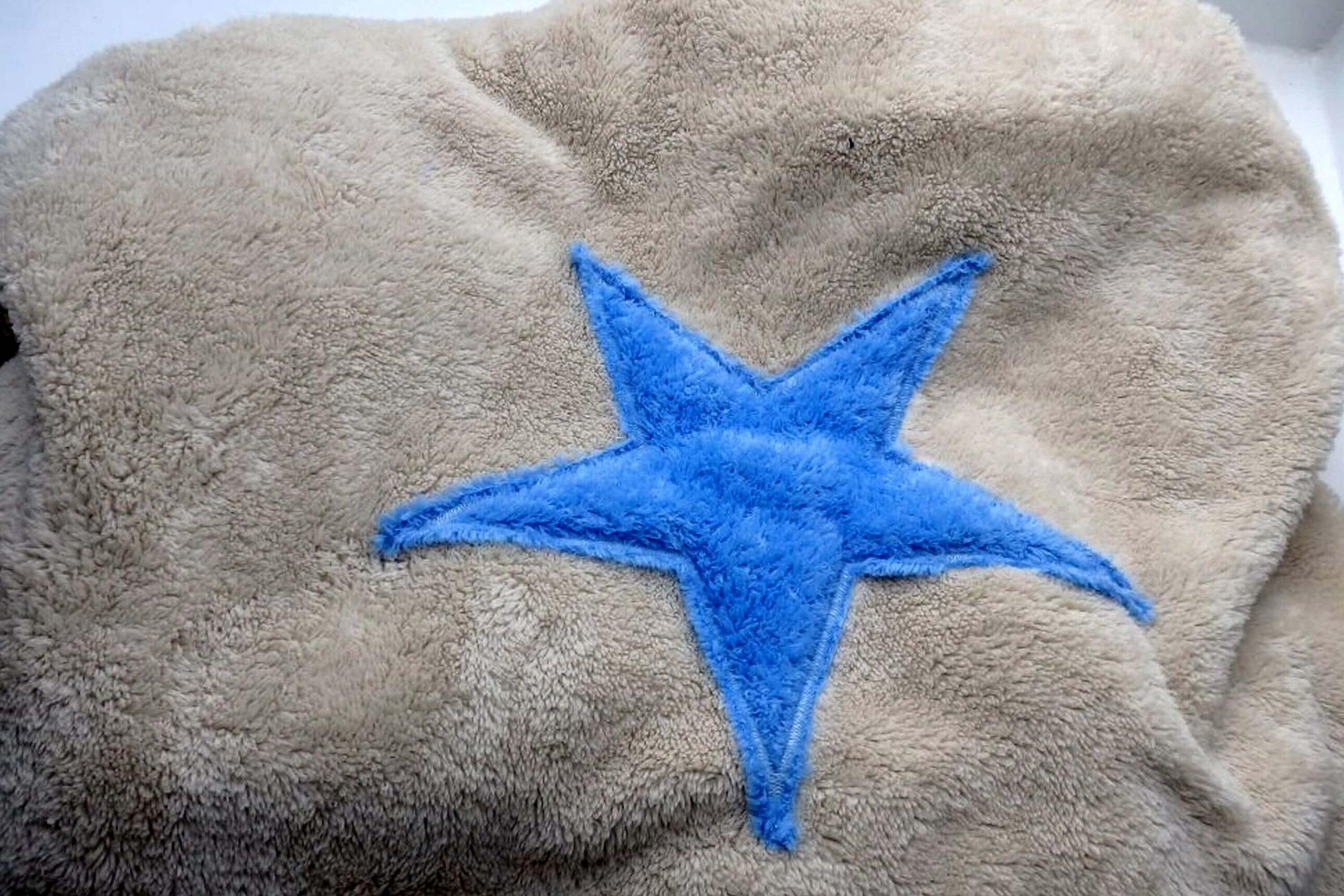 hundedecke welpendecke plaid pooch beige stern hellblau