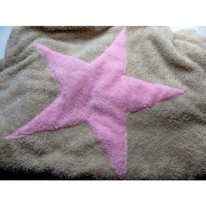 DITC - Hundedecke Welpendecke Plaid Pooch creme Stern rosa